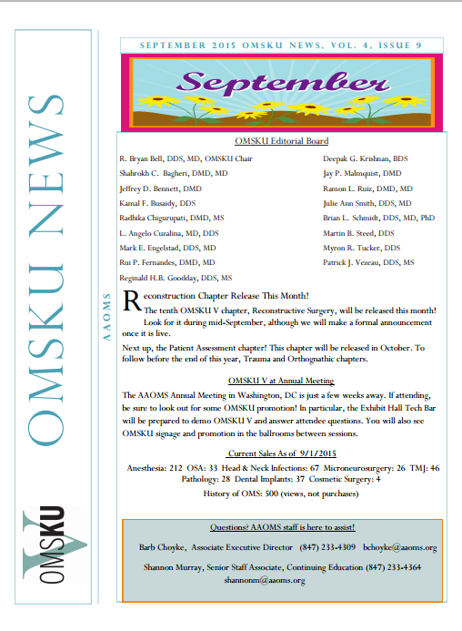 OMS Knowledge Update Chapter: Reconstructive Surgery to be Released in September 2015